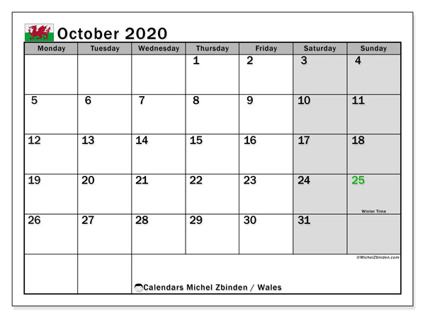 October 2020 Calendar, with the holidays of Wales. Holidays calendar to print free.