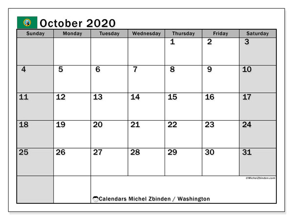 October 2020 Calendar, with the holidays of Washington. Free printable calendar with public holidays.