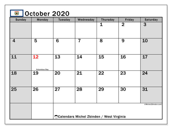 October 2020 Calendar, with the holidays of West Virginia. Holidays calendar to print free.