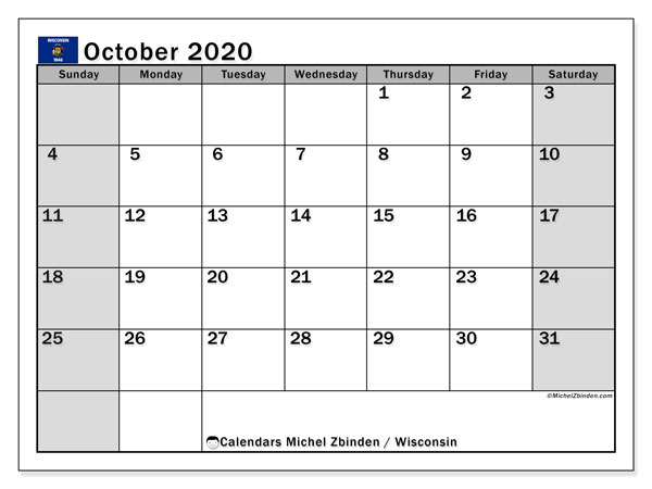 October 2020 Calendar, with the holidays of Wisconsin. Free printable calendar with public holidays.