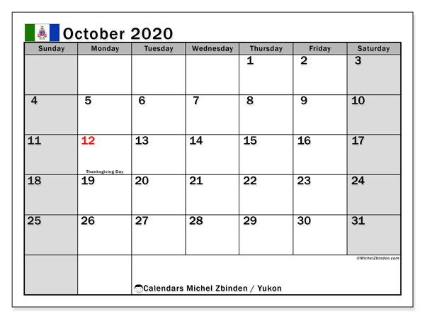 October 2020 Calendar, with the holidays of Yukon. Holidays calendar to print free.