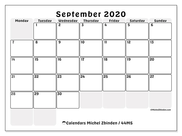 Printable calendar, September 2020, 44MS