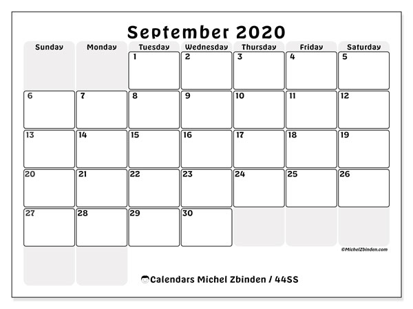 "Printable September 2020 calendar. Monthly calendar ""44SS"" and planner to print free"