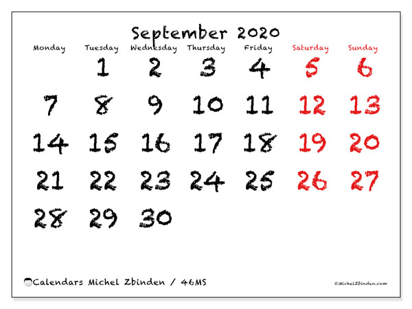 September 2020 Calendar, 46MS. Calendar for the month to print free.