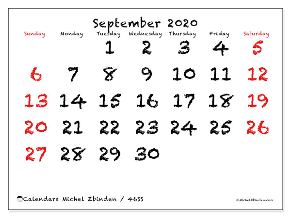 Printable calendars, September 2020, Sunday - Saturday