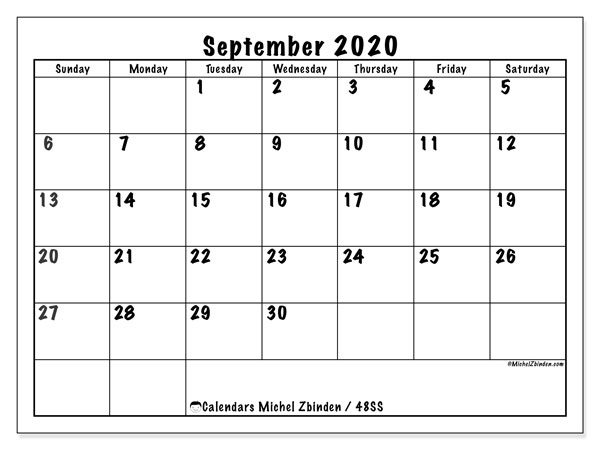 Calendar September 2020 - 48SS. Marker style. Monthly Calendar and free agenda to print.