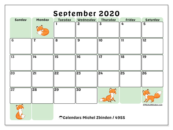 Calendar September 2020 - 49SS. Little foxes. Monthly Calendar and planner to print free.