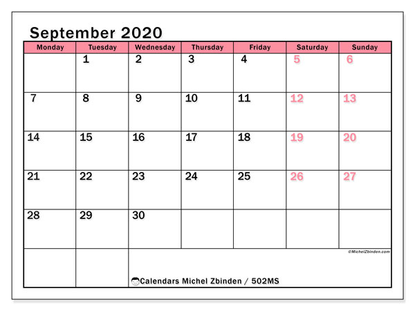 Printable calendar, September 2020, 502MS