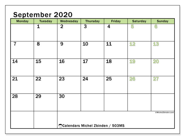 Printable calendar, September 2020, 503MS