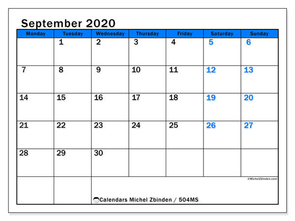 Printable calendar, September 2020, 504MS