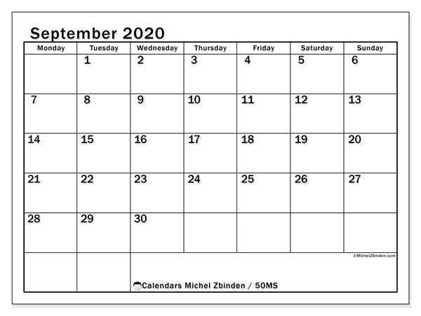September 2020 Calendar, 50MS. Calendar for the month to print free.