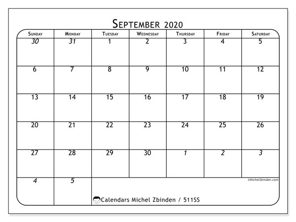 "Printable September 2020 calendar. Monthly calendar ""511SS"" and planner to print free"