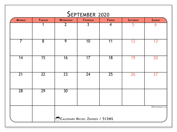 Printable calendar, September 2020, 512MS