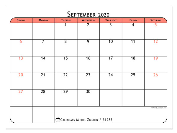 "Printable September 2020 calendar. Monthly calendar ""512SS"" and free printable schedule"