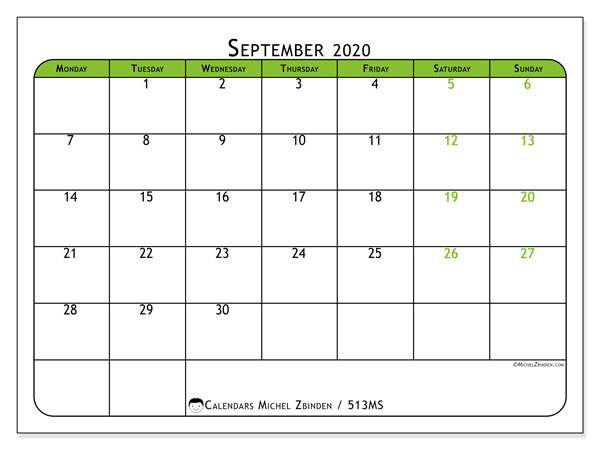 Printable calendar, September 2020, 513MS