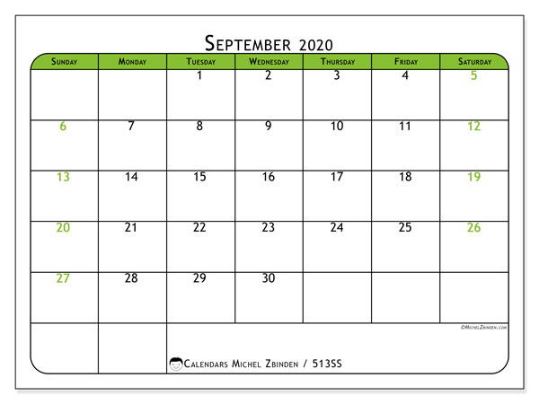 "Printable September 2020 calendar. Monthly calendar ""513SS"" and free bullet journal to print"
