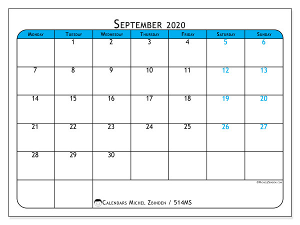 Printable calendar, September 2020, 514MS