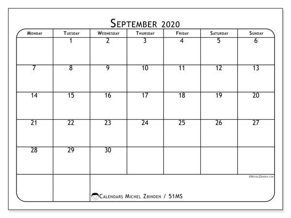 Calendar September 2020 - 51MS. Popular. Monthly Calendar and free printable schedule.