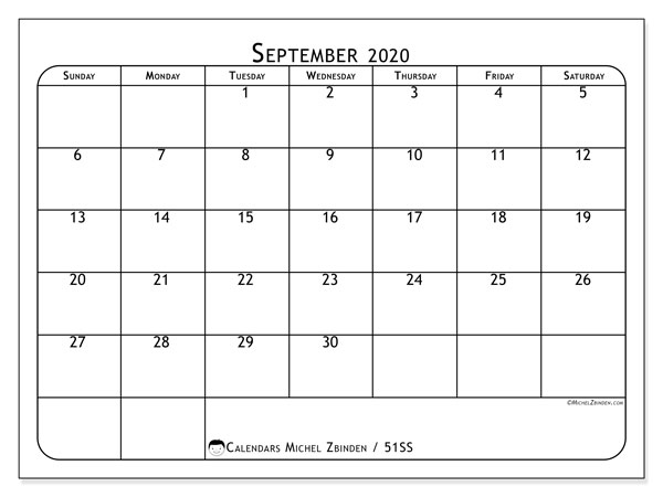September 2020 Calendar, 51SS. Monthly calendar to print free.