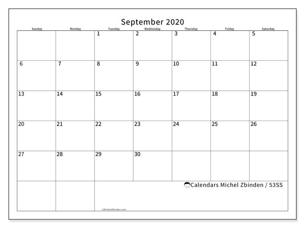 September 2020 Calendar, 53SS. Free printable monthly planner.