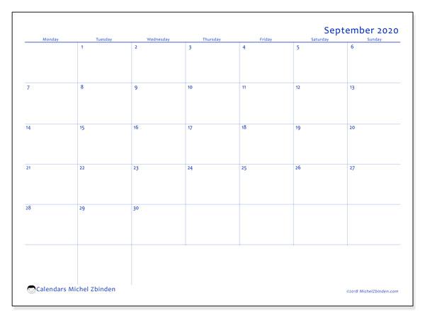 September 2020 Calendar, 55MS. Free printable monthly calendar.