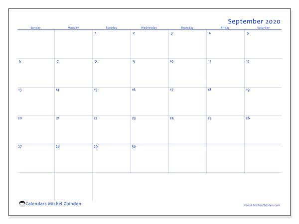 September 2020 Calendar, 55SS. Calendar for the month to print free.