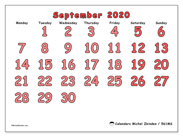 Printable calendar, September 2020, 561MS