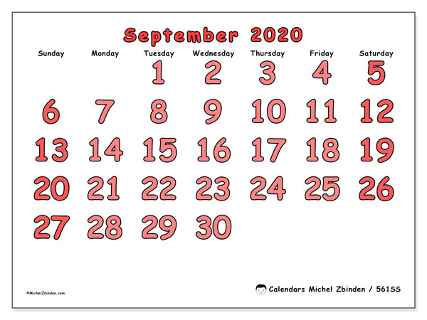 "Printable September 2020 calendar. Monthly calendar ""561SS"" and free timetable to print"