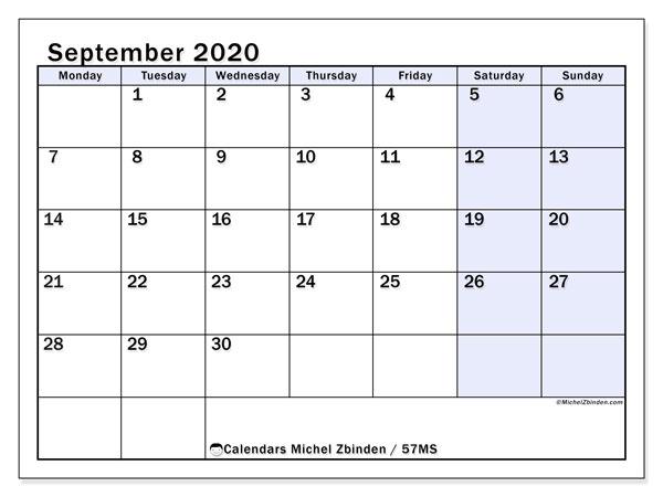 September 2020 Calendar, 57MS. Free printable monthly planner.