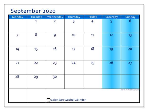 September 2020 Calendar, 58MS. Planner to print free.