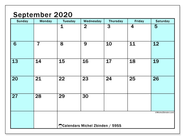 September 2020 Calendar, 59SS. Free printable monthly planner.