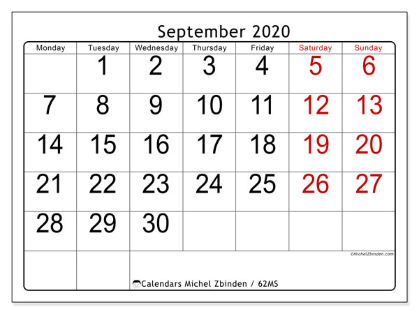 September 2020 Calendar, 62MS. Free calendar to print.