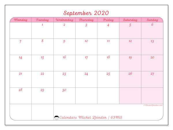 September 2020 Calendar, 63MS. Calendar to print free.
