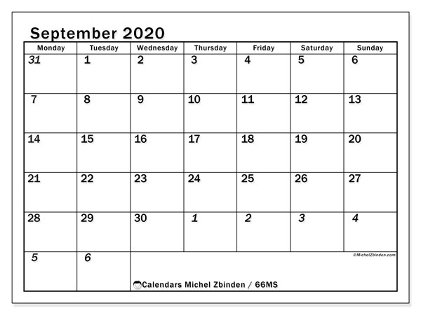 September 2020 Calendar, 66MS. Free printable monthly planner.