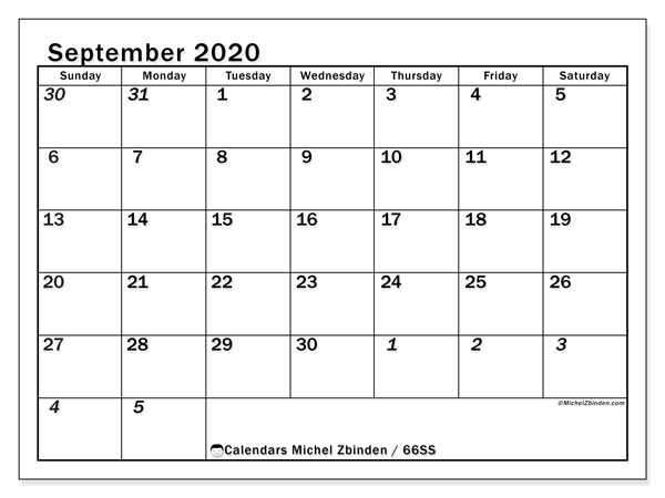 September 2020 Calendar, 66SS. Free printable monthly planner.