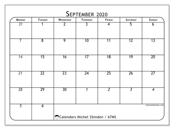 Calendar September 2020 - 67MS. The Complete. Monthly Calendar and free printable timetable.