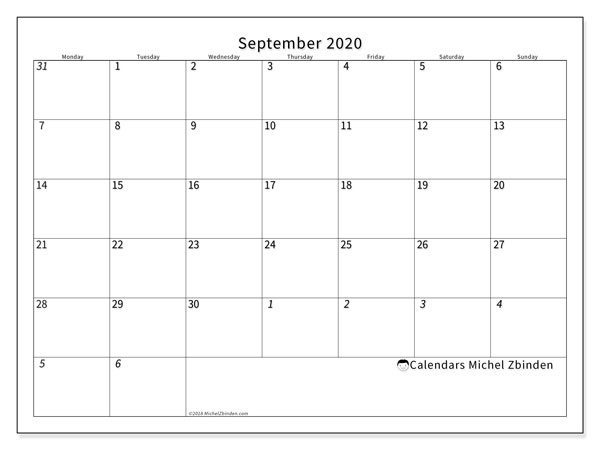 September 2020 Calendar, 70MS. Free printable monthly calendar.