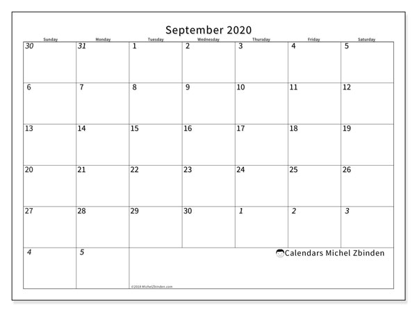 September 2020 Calendar, 70SS. Free bullet journal to print.