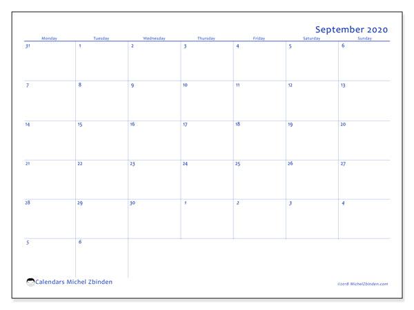 September 2020 Calendar, 73MS. Free bullet journal to print.