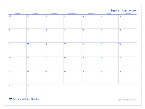 September 2020 Calendar, 73SS. Calendar for the month to print free.