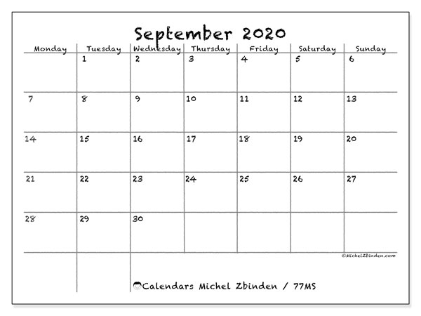 September 2020 Calendar, 77MS. Monthly calendar to print free.
