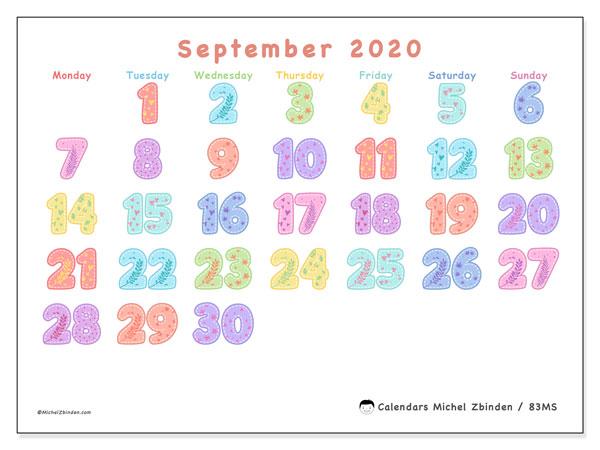 September 2020 Calendar, 83MS. Free printable monthly calendar.