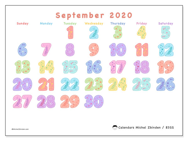 September 2020 Calendar, 83SS. Planner to print free.