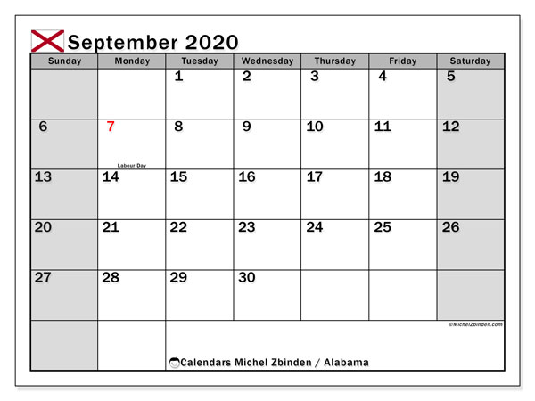 "Printable ""Alabama"" calendar with public holidays. Monthly September 2020 calendar and free printable schedule."