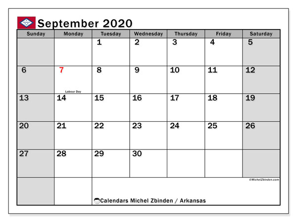 "Printable ""Arkansas"" calendar with public holidays. Monthly September 2020 calendar and free printable agenda."