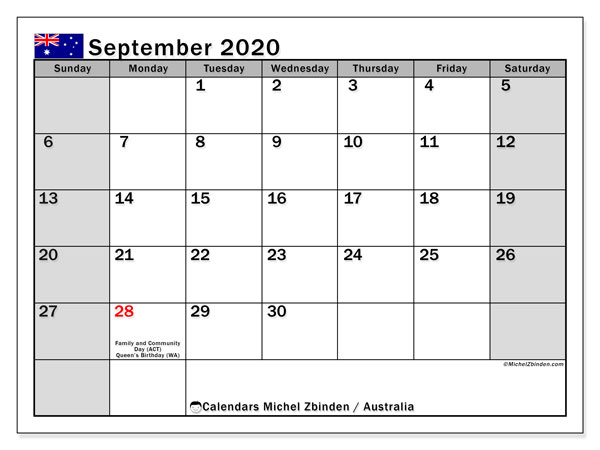 September 2020 Calendar, with the holidays of Australia. Holidays calendar to print free.