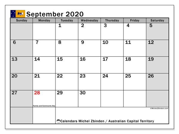 September 2020 Calendar, with the holidays of Australian Capital Territory. Free printable calendar with public holidays.