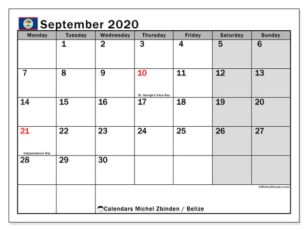 Printable September 2020 Calendar, Belize