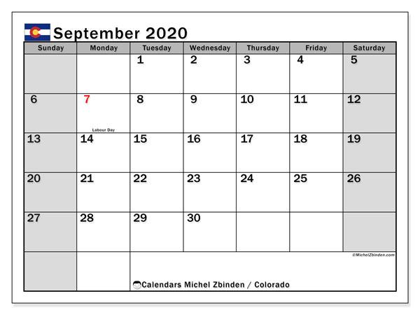 September 2020 Calendar, with the holidays of Colorado. Holidays calendar to print free.