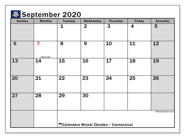 September 2020 Calendar, with the holidays of Connecticut. Holidays calendar to print free.